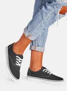 Czarne trampki DeeZee z tkaniny z płaską podeszwą w sportowym stylu