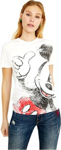 T-shirt Desigual z okrągłym dekoltem z nadrukiem