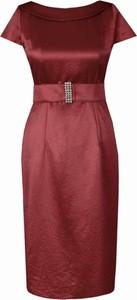Czerwona sukienka Fokus ołówkowa midi w stylu klasycznym
