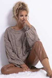Brązowy sweter Fobya z wełny w stylu casual