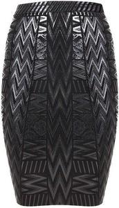 Czarna spódnica Rare w geometryczne wzory midi