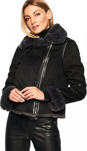 Czarny płaszcz Rino & Pelle w stylu casual z zamszu