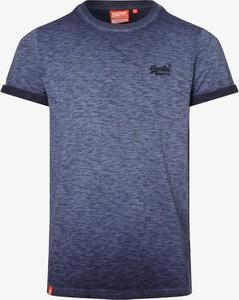 Niebieski t-shirt Superdry z krótkim rękawem z bawełny