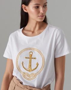 T-shirt Mohito z krótkim rękawem w młodzieżowym stylu