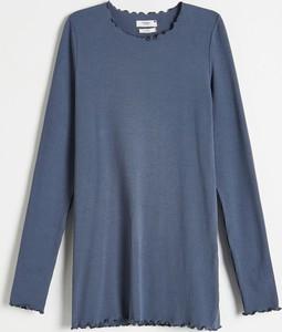 Reserved - Bluzka z prążkowanej dzianiny - Niebieski