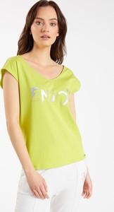 Zielona bluzka Monnari z okrągłym dekoltem z krótkim rękawem z bawełny