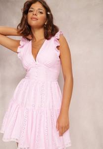 Różowa sukienka Renee mini z dekoltem w kształcie litery v bez rękawów