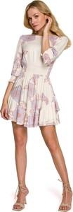 Sukienka Makover mini z długim rękawem z tkaniny