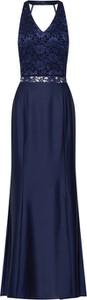 Niebieska sukienka Swing maxi z szyfonu z dekoltem w kształcie litery v