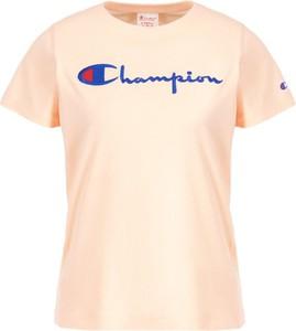 Różowy t-shirt Champion w stylu casual z okrągłym dekoltem