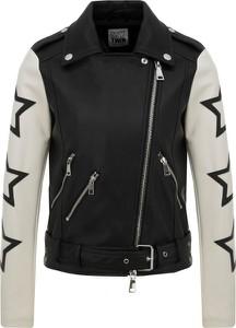 Czarna kurtka Mytwin Twinset w stylu casual ze skóry ekologicznej krótka