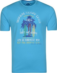 Niebieski t-shirt Redmond z bawełny w młodzieżowym stylu