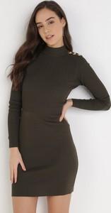 Zielona sukienka born2be z długim rękawem mini