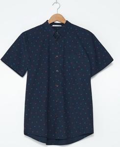 Granatowa koszula House w stylu casual z krótkim rękawem z klasycznym kołnierzykiem