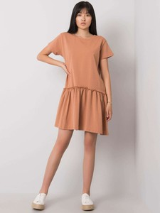 Brązowa sukienka Promese w stylu casual z bawełny z krótkim rękawem