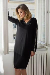 Czarna sukienka La'Aurora z długim rękawem