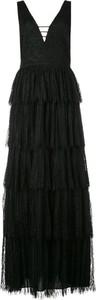 Czarna sukienka Alice + Olivia z dekoltem w kształcie litery v