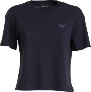 Niebieski t-shirt Emporio Armani z krótkim rękawem