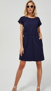 Sukienka Moodo z bawełny z krótkim rękawem mini