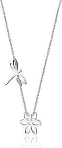 Caviallo Srebrny naszyjnik z ważką i kwiatkiem