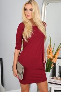 Czerwona sukienka Fasardi mini oversize w stylu casual
