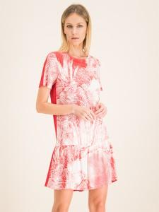 Różowa sukienka Cavalli Class w stylu casual mini z okrągłym dekoltem