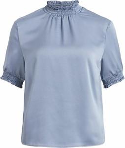 Niebieski t-shirt Vila z golfem z krótkim rękawem