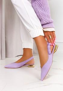 Fioletowe baleriny Casu z płaską podeszwą w stylu casual