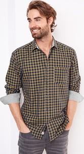 Brązowa koszula Tchibo z klasycznym kołnierzykiem w stylu casual ze skóry ekologicznej