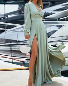Zielona sukienka Kendallme z długim rękawem maxi
