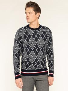 Granatowy sweter Tommy Hilfiger w geometryczne wzory