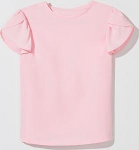 Różowa bluzka Mohito z okrągłym dekoltem z krótkim rękawem