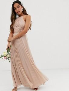 Różowa sukienka Asos z dekoltem halter