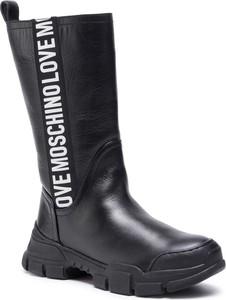 Czarne kozaki Love Moschino w stylu casual przed kolano
