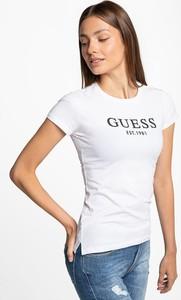 Czarny t-shirt Guess z krótkim rękawem