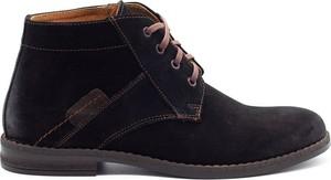 Czarne buty zimowe Buty Olivier ze skóry