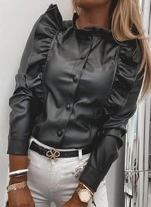 Czarna bluzka Sandbella z okrągłym dekoltem z długim rękawem