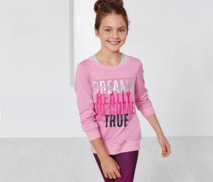 Różowa koszulka dziecięca Tchibo z bawełny z długim rękawem