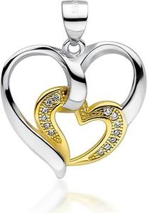 Valerio Rodowany pozłacany srebrny wisiorek serce serduszko heart cyrkonia cyrkonie srebro 925 Z1714CGR1