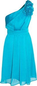 Niebieska sukienka Fokus z asymetrycznym dekoltem