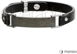 Silverado oryginalna bransoletka męska z czarną blaszką na skórze 77-ba486b