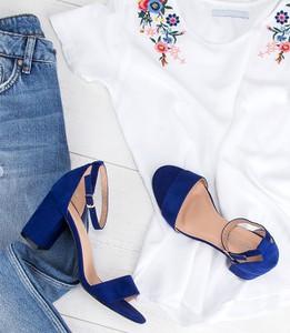 Niebieskie sandały Laura Mode z klamrami