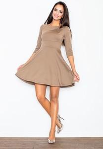 fedd126bf6 Brązowa sukienka Figl z okrągłym dekoltem mini z długim rękawem
