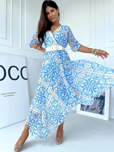 Niebieska sukienka Versada kopertowa z dekoltem w kształcie litery v