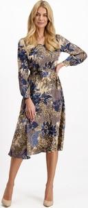 Sukienka Lavard z długim rękawem z tkaniny midi