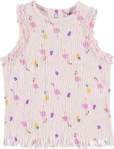 Różowa koszulka dziecięca Tom Tailor bez rękawów z bawełny