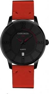 Męski zegarek chronos na czerwonym pasku