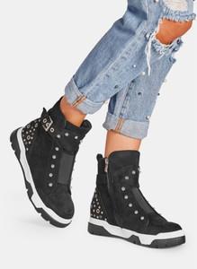 Czarne buty sportowe DeeZee z płaską podeszwą w sportowym stylu