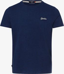 Niebieski t-shirt Superdry w stylu casual z krótkim rękawem
