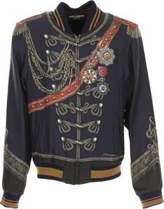 Niebieska kurtka Dolce & Gabbana z jedwabiu w młodzieżowym stylu
